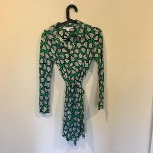 Diane von Furstenberg leaf print long sleeve dress